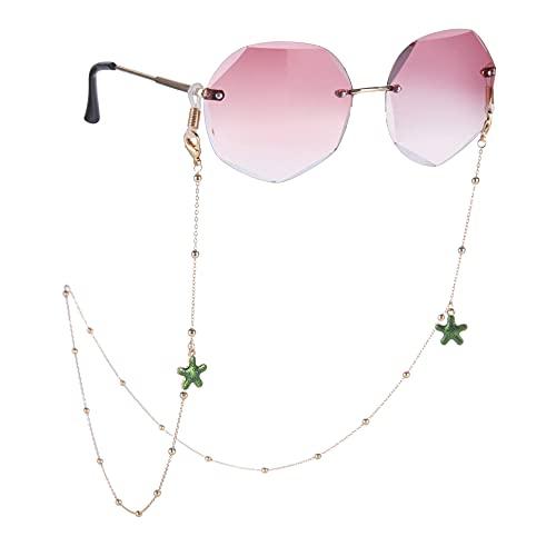 Amaxer Soporte para gafas de sol con cordón para gafas de sol, correa de lectura, retenedor de frutas y verduras, conchas de mar de acero inoxidable para mujeres y hombres Largo