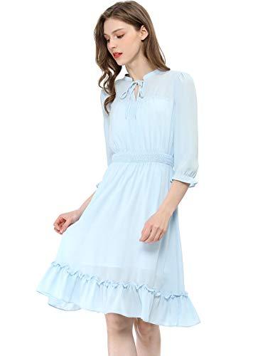 Allegra K Women's Ruffle Hem 3/4 Sleeve A-Line Short Chiffon Dress L Blue