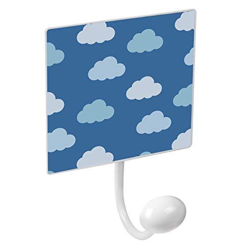 POMOLINE Percha Pared Metal diseño Infantil decoración Nubes Azul con 1 Gancho Porcelana