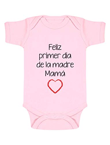 Body de Manga Corta para bebé - Feliz Primer Día de la Madre - para Mamá en su Día 3-6 Mes Rosa