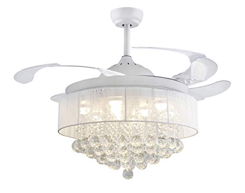42' Crystal Round Drum Fabric shape Ceiling Fans 32W LED 4...