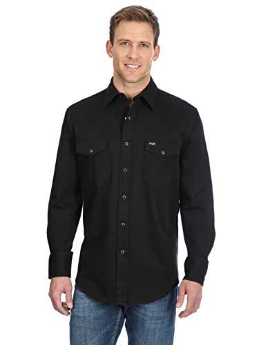Wrangler Men's Premium Performance Workshirt, Solid Black, Medium Tall