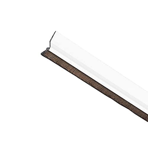 AMIG 2055 - Burlete Modelo2 | Burlete adhesivo de sobreponer | Cepillo de pelo | Lámina de plástico entre la escobilla | 1 m | Blanco | Aluminio