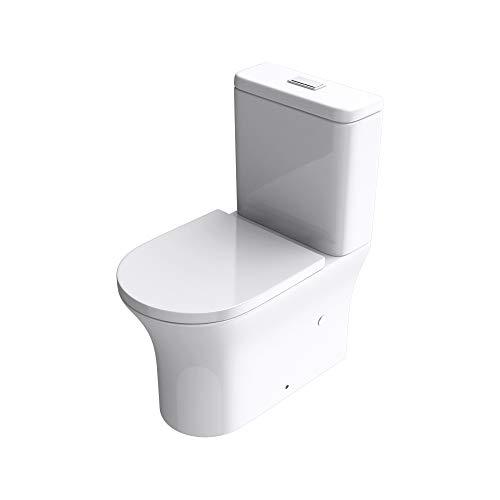 doporro Inodoro de pie 37x65x83cm diseño Stand304T inodoro blanco de ceramica con mecanismo cierre suave, sin reborde