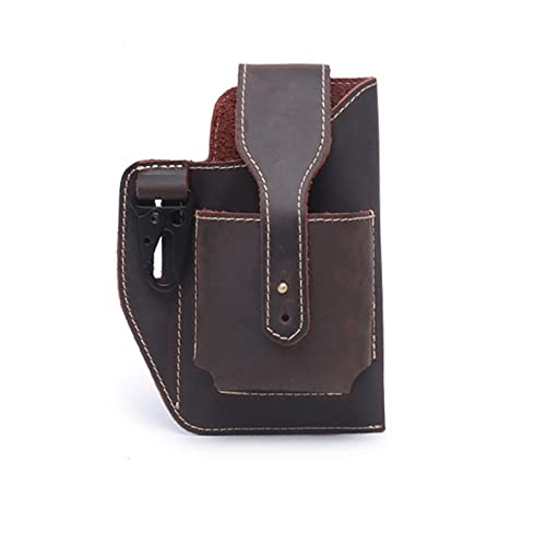 Cell Phone Waist Bag Leather Men,Cell Phone Holster with Belt Loop,Pu Leather Smartphone Belt Pouch Hip Bum Bag,for Cell Phone and Cigarette Fits Tape Measure (Brown)