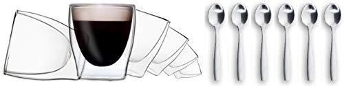 DUOS 6X 80ml doppelwandige Gläser + 6X Edelstahl-Löffel - Set Thermogläser mit Schwebe-Effekt, auch für Espresso, Liköre, Grappa, Schnaps, Shot-Drinks geeignet, by Feelino