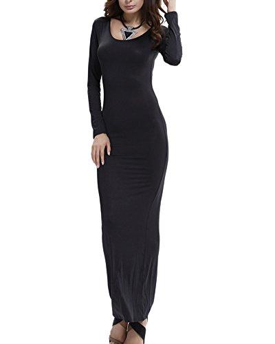 Damen Langarm Etuikleider Basic Longshirt Kleider Loose Stretch Rundhals T-Shirt Einfarbig Maxi Kleid Schwarz M
