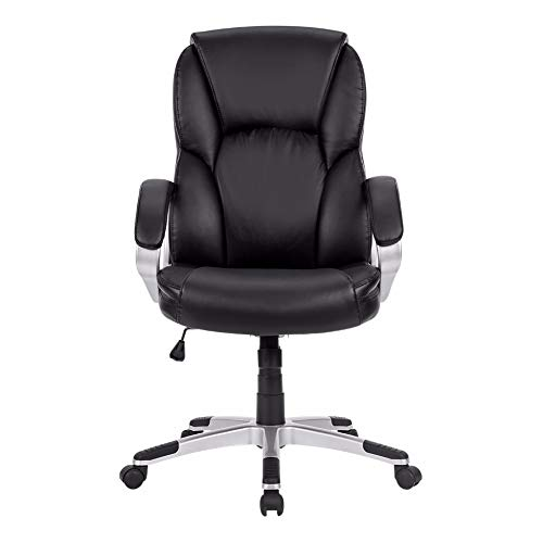 HEEGNPD Modern ergonomisch leer midden achter executive computer bureaustoel met gevoerde armleuningen in hoogte verstelbare zitting