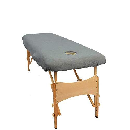 aztex Klassische Massagetisch-Schutzhülle, geeignet für Salons, Spas und Therapeuten, mit oder ohne Gesichtsloch, grau - mit Gesichtsloch