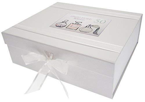 White Cotton Cards herinneringsdoos voor 50e verjaardag, groot, parfum flessen, wit