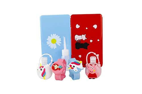 BMS Kit de Funda Porta Mascarilla para Niños + 2 Pulseras Dispensadoras de Gel Hidroalcohólico con Dibujos de Unicornios y Peppa Pig niños + 2 Porta Gel Hidroalcohólico Manos Niños