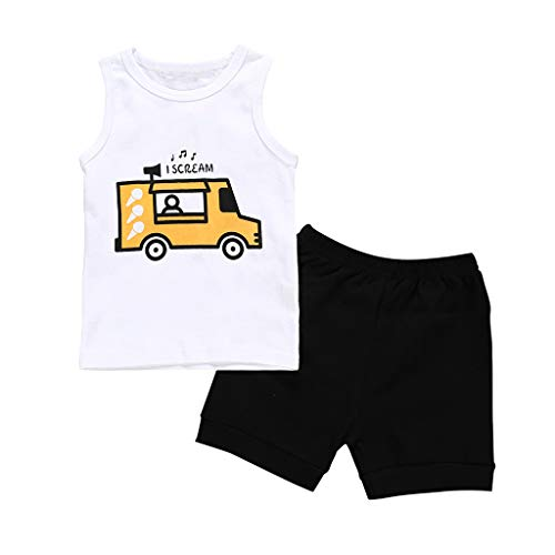 Julhold kinder baby jongen mouwloos eenvoudige carikatuurdruk katoen bovenstuk vest + vaste shorts outfit 0-24 maanden