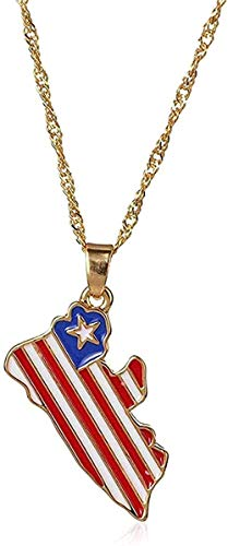 ZGYFJCH Co.,ltd Necklace Woman Necklace Necklace Map Flag Necklace Style Hip-Hop Jewelry Ghana Liberia Submarine Jamaica South Africa Pendant Chain Souvenir