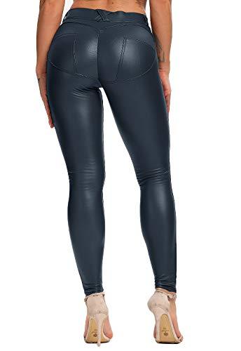 FITTOO PU Leggings Cuero Imitación Pantalón Elásticos Cintura Alta Push Up para Mujer #1 Bolsillo Falso Poca Terciopelo Azul M