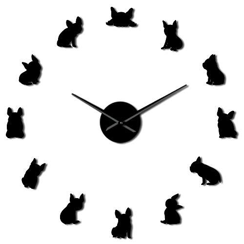 WLDDKK Wall Clock 37 inch 47 inch French Bulldog DIY Giant Wall Clock Wall Watch DOD Breeds Dog Lovers Gift
