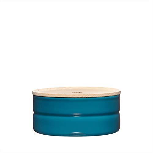 Riess, 2173-200, Vorratsdose mit Eschenholzdeckel, Durchmesser 13 cm, Höhe 6 cm, Inhalt 615 ml, SILENT BLUE, KITCHEN-MANAGEMENT, Truehomeware, Emaille
