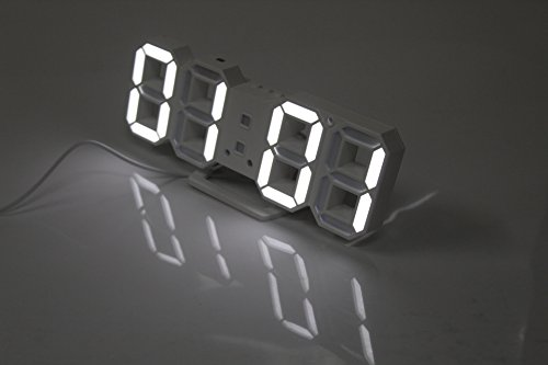 ARDUX LED Wall Clock, LED Multifunctional Digital Wall Clock 12H/24H Time Display with Alarm and Snooze Function Adjustable Luminance
