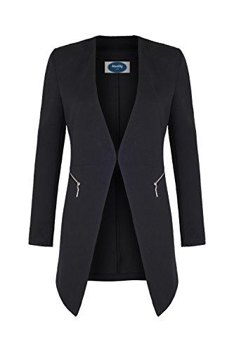 4tuality AO Long Blazer kragenlos mit Zipper schwarz Gr. S