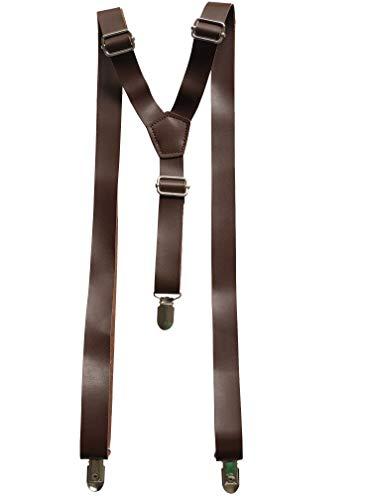 Hochzeit Vintage Kaffee rustikal braun dunkelbraun schwarz breit PU Leder Hosenträger für Männer Hosenträger (Dunkel)