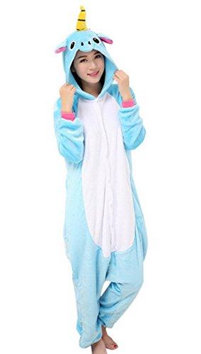 Feoya - Combinaison Licorne Animaux Costume Cosplay Pyjama - Grenouillère pour Adulte Unisexe - Bleu - Taille L