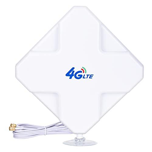 4G LTE Antenna SMA Connector de Alto Rendimiento. Dual Mimo Amplificador de Señal Exterior Receptor 35dbi Alto Ganancia de Red de Larga Distancia Ethernet para WiFi Router Banda Ancha Móvil (SMA)