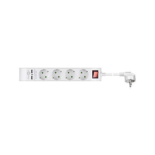 Goobay 55481 4-voudige stekkerdoos met schakelaar en 2 USB-poorten voor het aansluiten van maximaal vier elektrische en twee USB-apparaten