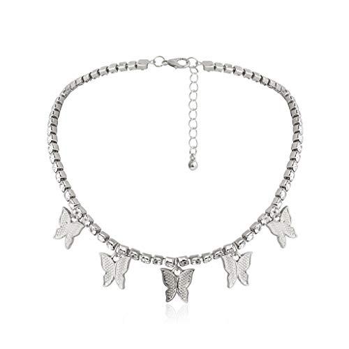 BMBN Collar, Collar con Colgante de Mariposa voladora, Gargantilla de Mariposa de Cristal Brillante para Mujer, Collar con declaración de Diamantes, joyería de Moda, Plata