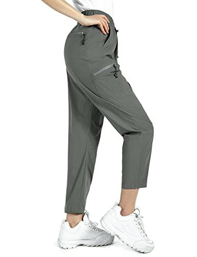 Wespornow Pantaloni Trekking Donna Asciugatura Rapida Traspiranti Pantaloni da Montagna Arrampicata Escursionismo per attività All'aperto,-Trekking Pantaloni-Jogging Pants (Grigio-Verde nebbioso, M)