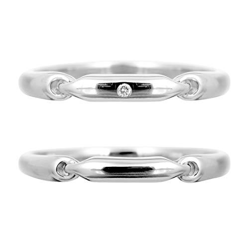 [ココカル]cococaru ペアリング シルバー リング2本セット ダイヤモンド マリッジリング 結婚指輪 日本製(レディースサイズ8号 メンズサイズ9号)