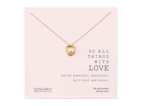 Dogeared Do All Things with Love Together Knot Charm Necklace Gold One Size