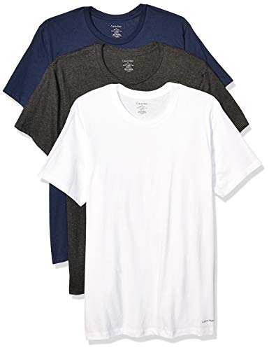 Calvin Klein Men's Cotton Classics Multipack Crew Neck T-Shirts, White/Charcoal Heather/Blue Shadow, L