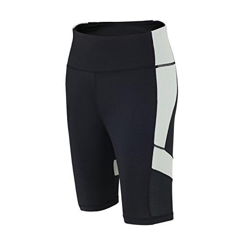 Airtracks RED DECOCT Sport Pantalon de fitness / de course court / Pantalon fonctionnel / Pantalon d'entraînement, de yoga / Taille haute / Réflecteurs / Noir/Gris - XL