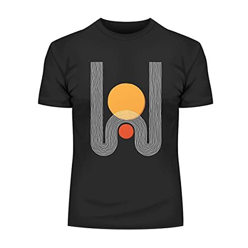 KuziTees Camiseta de diseño moderno con estampado colorido y cuello redondo divertido regalo de cumpleaños unisex, Negro, M