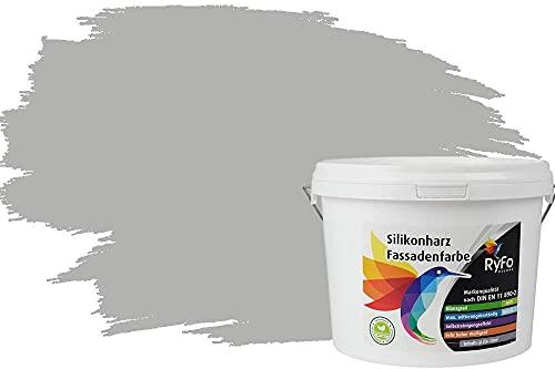 RyFo Colors Silikonharz Fassadenfarbe Lotuseffekt Trend Delfingrau 3l - bunte Fassadenfarbe, weitere Grau Farbtöne und Größen erhältlich, Deckkraft Klasse 1