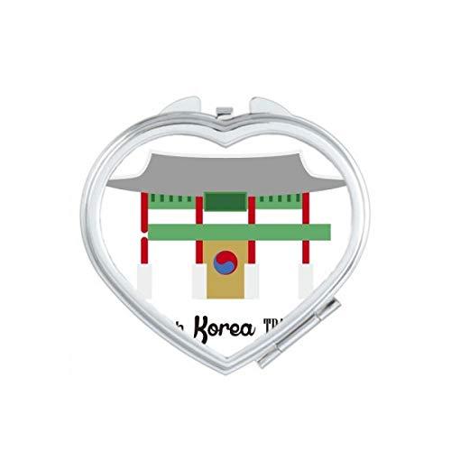 DIYthinker Corée du Sud Repères Placer Voyage Coeur Maquillage Compact Miroir de Poche Miroirs Mignon Petit Cadeau Portable à la Main Multicolor