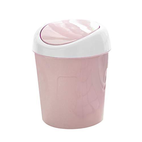VONKY Papelera Puede Mini tirón de la Tapa Cubo de Basura de plástico Escritorio de la cabecera de residuos Cesta para el hogar de la Sala, Rosa