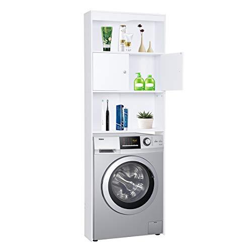 *Happy Home Waschmaschinenschrank Badregal Hochschrank Waschmaschine Badschrank mit Tür und 3 Ablagens für Toilette, Badezimmer, Balkon (Weiß) – 62,5 x 19,5 x 178 cm*