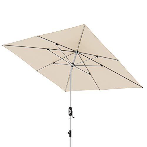 Knirps Sonnenschirm Automatic – Quadratischer Kurbelschirm – Modernes Design – Starker UV-Schutz – 240x240 cm – Natur