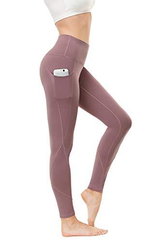 HKJIEVSHOP High Waist Yoga Pants, Pocket Yoga Pants Tummy Control Workout Pants 4 Way Stretch Pocket Leggings Lilac