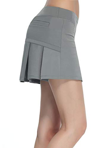HonourSex Women Golf Skirts with Pockets Tennis Skirts with Shorts Skorts Activewear Hiking Grey L