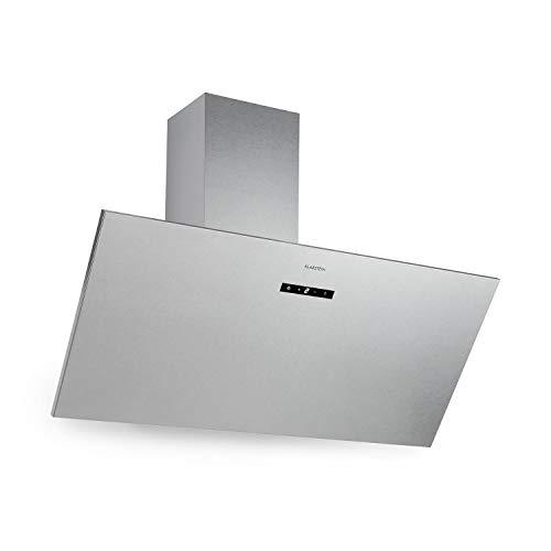 Klarstein Silver Lining 90 – extractor de humos, campana de pared, diseño compacto inclinado, 90 cm, Clase A, extracción y ventilación, 568 m³/h, 3 niveles de potencia, control táctil, plateado