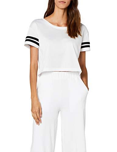 Urban Classics TB1185 Damen T-Shirt Ladies Mesh Short Tee Mehrfarbig (Wht/Blk 224), Medium