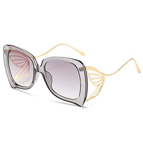 Mariposa gafas de sol europeas y americanas hombres y mujeres tendencia personalidad mariposa gafas calle shooting gafas de sol exageradas verano protección solar decoración fiesta (Color : E)