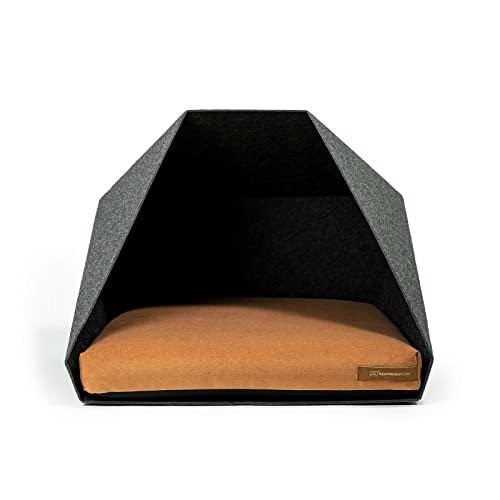 R Exproduct Pocket - Caseta para Perros de Tela ecológica de Pet, Resistente a los arañazos, Gris Oscuro y Naranja (60 x 45 x 63 cm)
