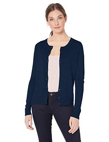 Amazon Essentials Women's Lightweight Crewneck Cardigan Sweater, Navy, Medium