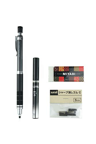 Uni Mechanical Pencil, Kuru Toga Roulette Model 0.5mm, Gun Metallic (M510171P.43) & Pencil Lead & Kuru Toga Pencil Eraser with MIYABI eraser set(M51017.43/U05203HB.24/Sharp eraserC/MB-B)