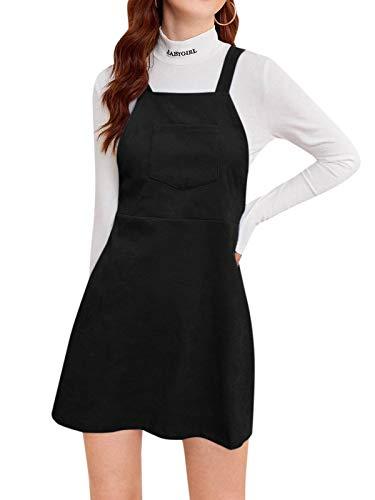 YOINS Minivestido de verano para mujer, línea A, con bolsillos, elegante Negro L