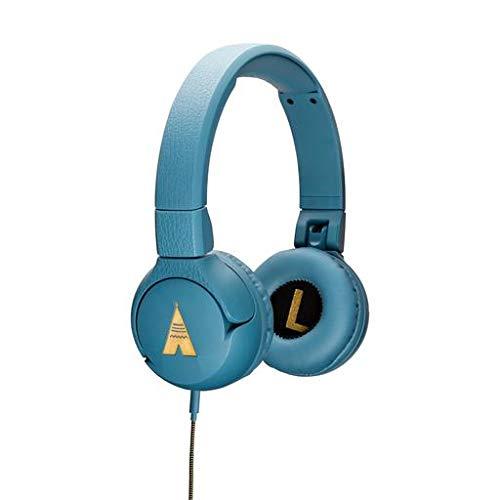 POGS Kinderkoptelefoon - The Elephant, Opvouwbare on-ear-koptelefoon met gehoorbescherming voor kinderen, functie voor het delen van muziek, Aux-kabel (blauw) (blauw)