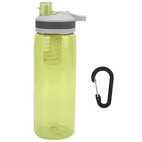 Alomejor Botella de Filtro de Agua de 770 ml, purificador de Agua portátil para Exteriores Botella purificadora de Agua de Emergencia Personal para Acampar y Caminar(Amarillo)