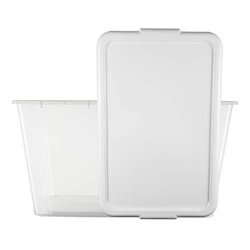 SIMPLYKLEEN 4-Pack Clear Storage Totes with Lids (White), 14.5-Gallon (58-Quart) Stackable Bins, 24' x 17' x 13' Nestable Organizer, Plastic Storage Containers